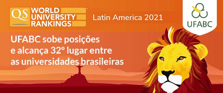 UFABC sobe posições e alcança 32º lugar entre as universidades brasileiras em QS World University Rankings